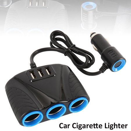 3 Way Car Cigarette Socket Lighter Splitter Dual USB Output Charger Power Adapter 120W ()