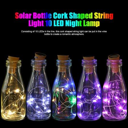 Zerone Christmas 4Pcs Solar Bottle Cork Shaped String Light 10 LED Night Lamp Party Festival Decor,String Lights, LED String Light - Pink String Lights