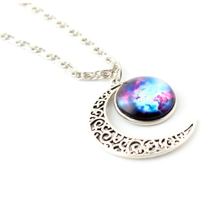 Women Galaxy Universe Crescent Moon Glass Cabochon Pendant Necklace Gift -