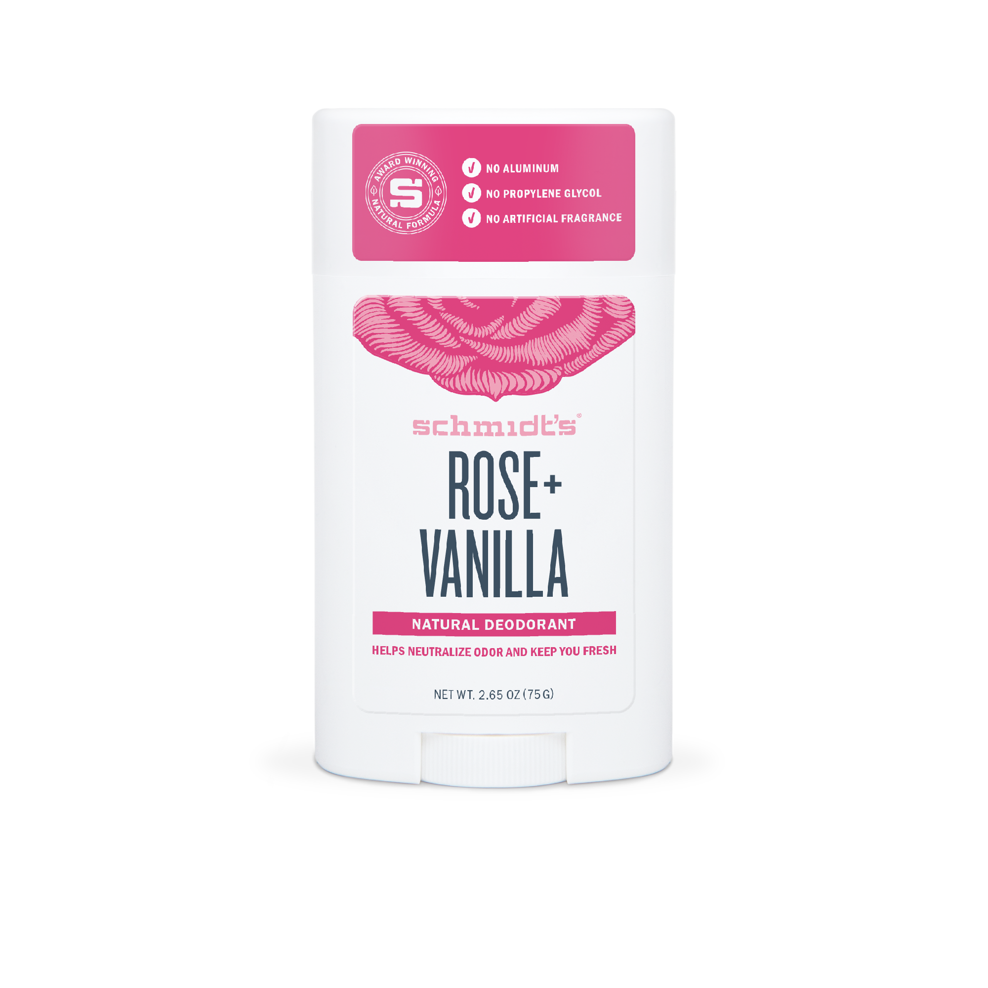 Schmidt's Rose + Vanilla Natural Deodorant Stick, 2.65 Oz