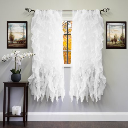 Chic Sheer Voile Vertical Ruffled Tier Window Curtain Panel 50
