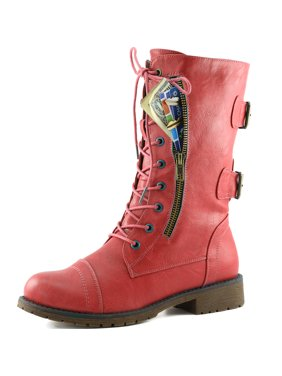 6acc530e0e57 Product Image Women's Military Up Buckle Combat Boots Mid Knee High  Exclusive Credit Card Pocket