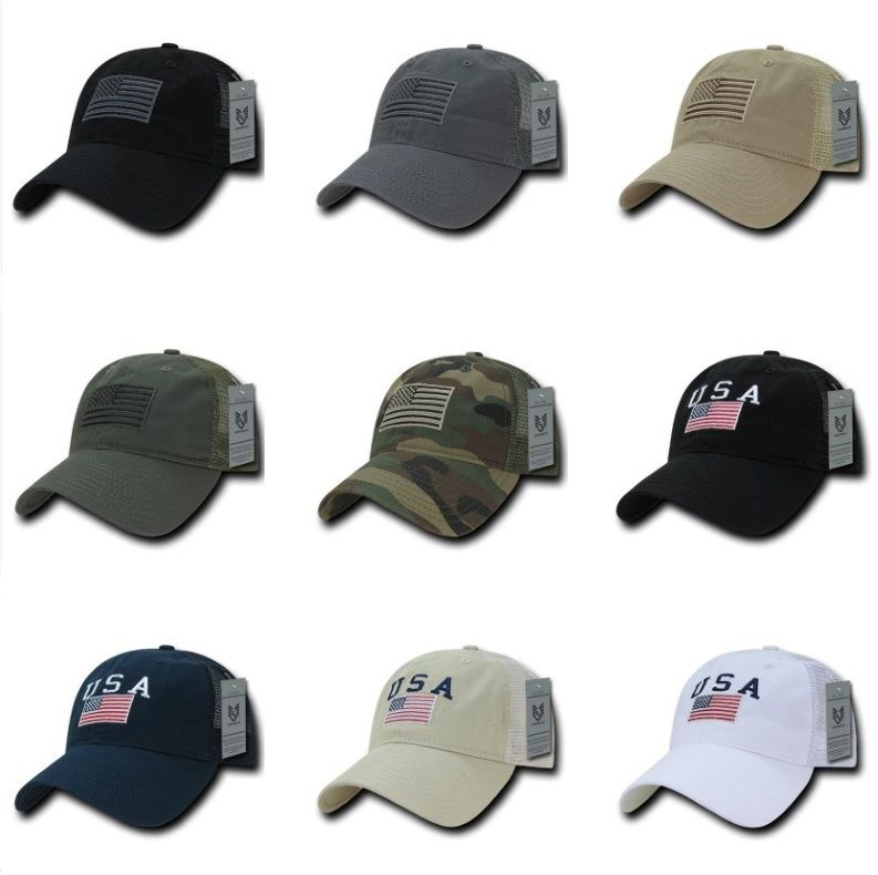 American USA US Flag Patch United States America Polo Trucker Baseball Hat Cap-Navy 2