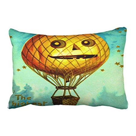 WinHome Vintage Popular Lantern Air Balloon Halloween Pattern Pumpkin Star Polyester 20 x 30 Inch Rectangle Throw Pillow Covers With Hidden Zipper Home Sofa Cushion Decorative Pillowcases](Vintage Halloween Lantern Pattern)