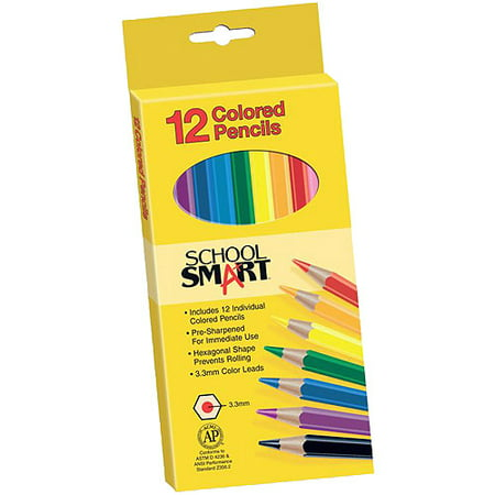 School Smart Non Toxic Waterproof Colored Pencils, Assorted Colors (Boy Pencils)