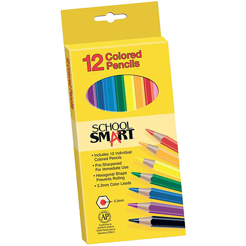 School Smart Non Toxic Waterproof Colored Pencils, Assorted Colors