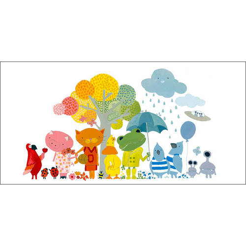 Oopsy Daisy - Animal Rainbow Canvas Wall Art 36x18, Robin Rosenthal