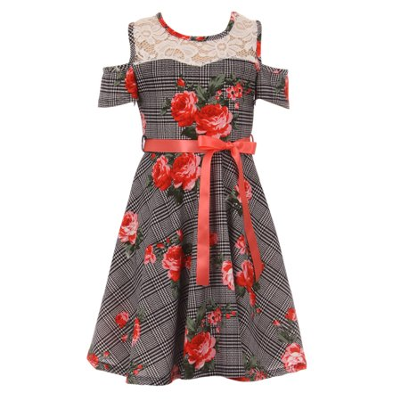 4aad7024fbbb BluNight Collection - Little Girls Classy Cold Shoulder Lace Floral Checker  Birthday Party Flower Girl Dress Coral 4 (2J1K3S0) - Walmart.com