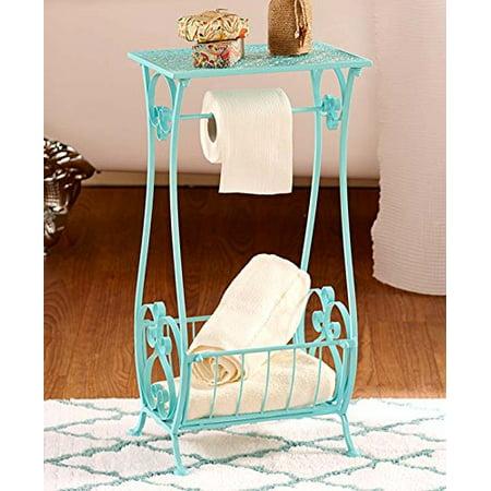 Aqua Metal Bathroom Table Stand Toilet Paper Holder Bar Towel Magazine Rack Shabby Chic Decor