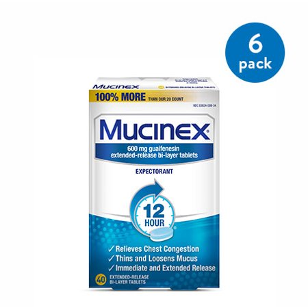 (6 Pack) Mucinex 12 Hour Chest Congestion Expectorant Relief Tablets, 40 Count, Thins & Loosens