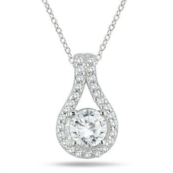 3/5 Carat TW Diamond Halo Pendant in 10K White Gold