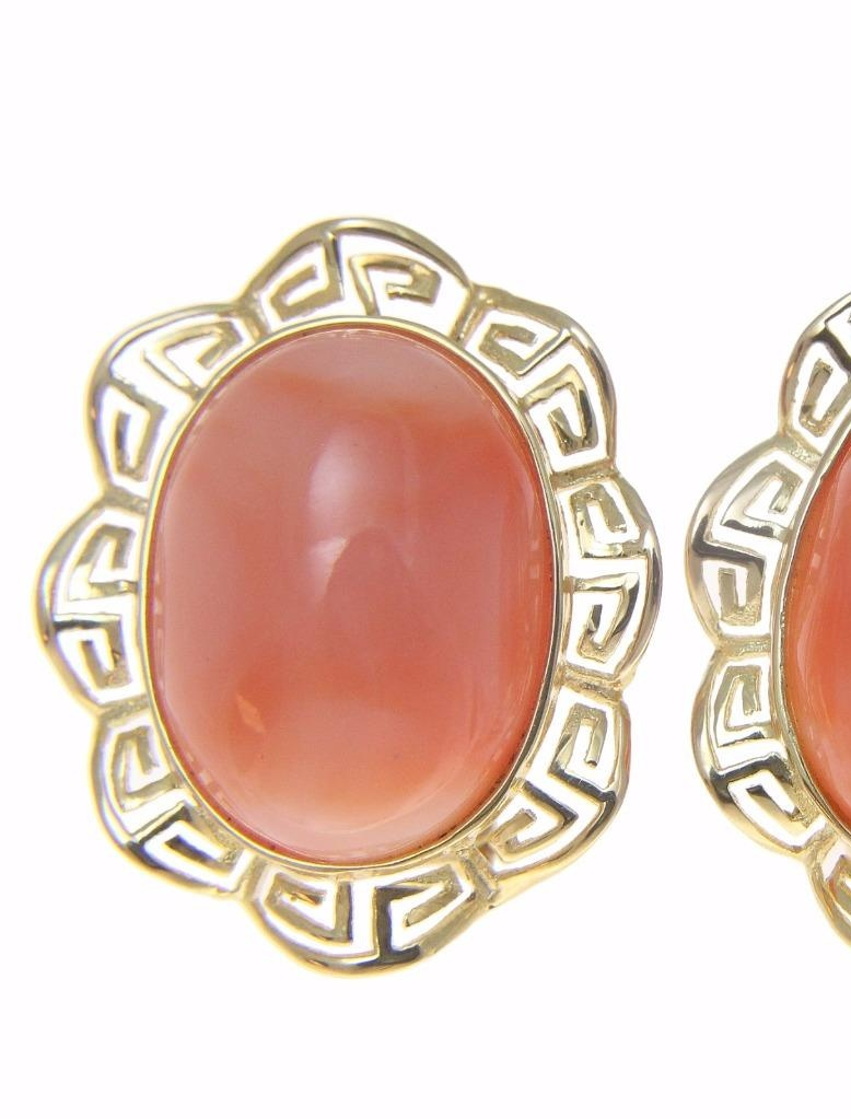Genuine natural pink coral earrings greek wave omega french post 14k yellow gold by