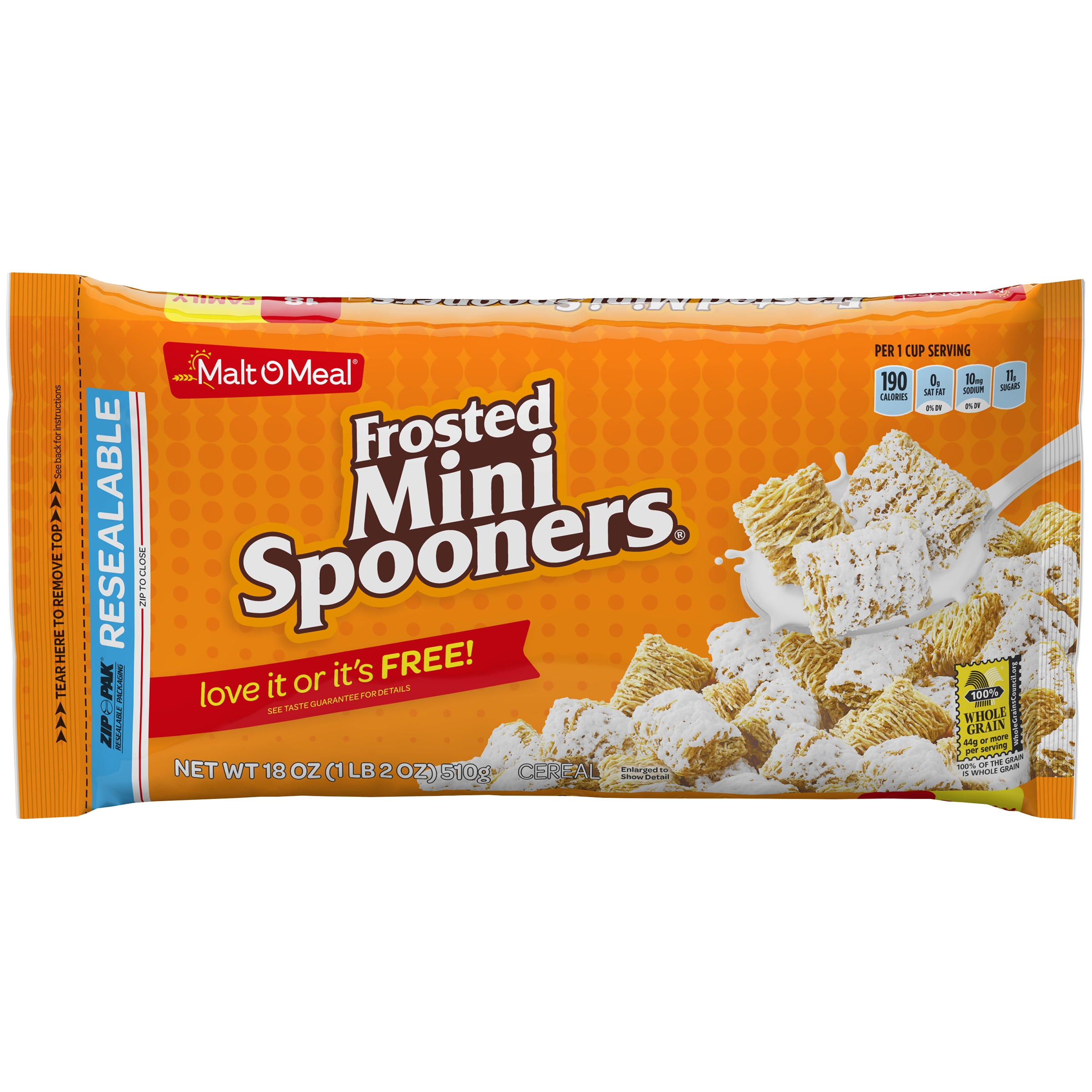 Malt-O-Meal Breakfast Cereal, Frosted Mini Spooners, 18 Oz