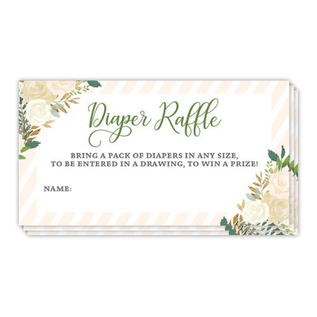 Diaper Raffle Game Tickets Baby Shower Pack of 48 Guest Invitation Inserts Blank Signature Card Drawing Win Prizes Lovely Floral Mom to Be Newborn Infant Girl 3.5 x 2 Inches Digibuddha