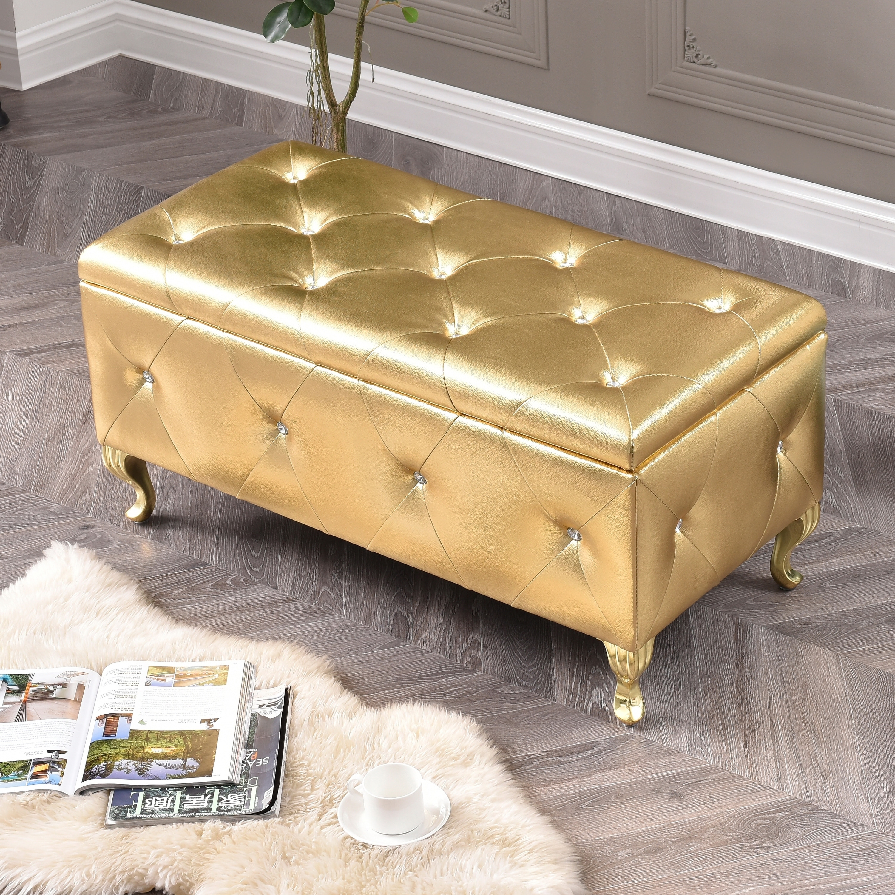 AC Pacific Leather Upholstered Tufted Storage Bench