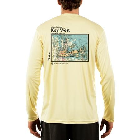 Key West Nautical Chart Men's UPF 50+ UV/Sun Protection Long Sleeve T-Shirt