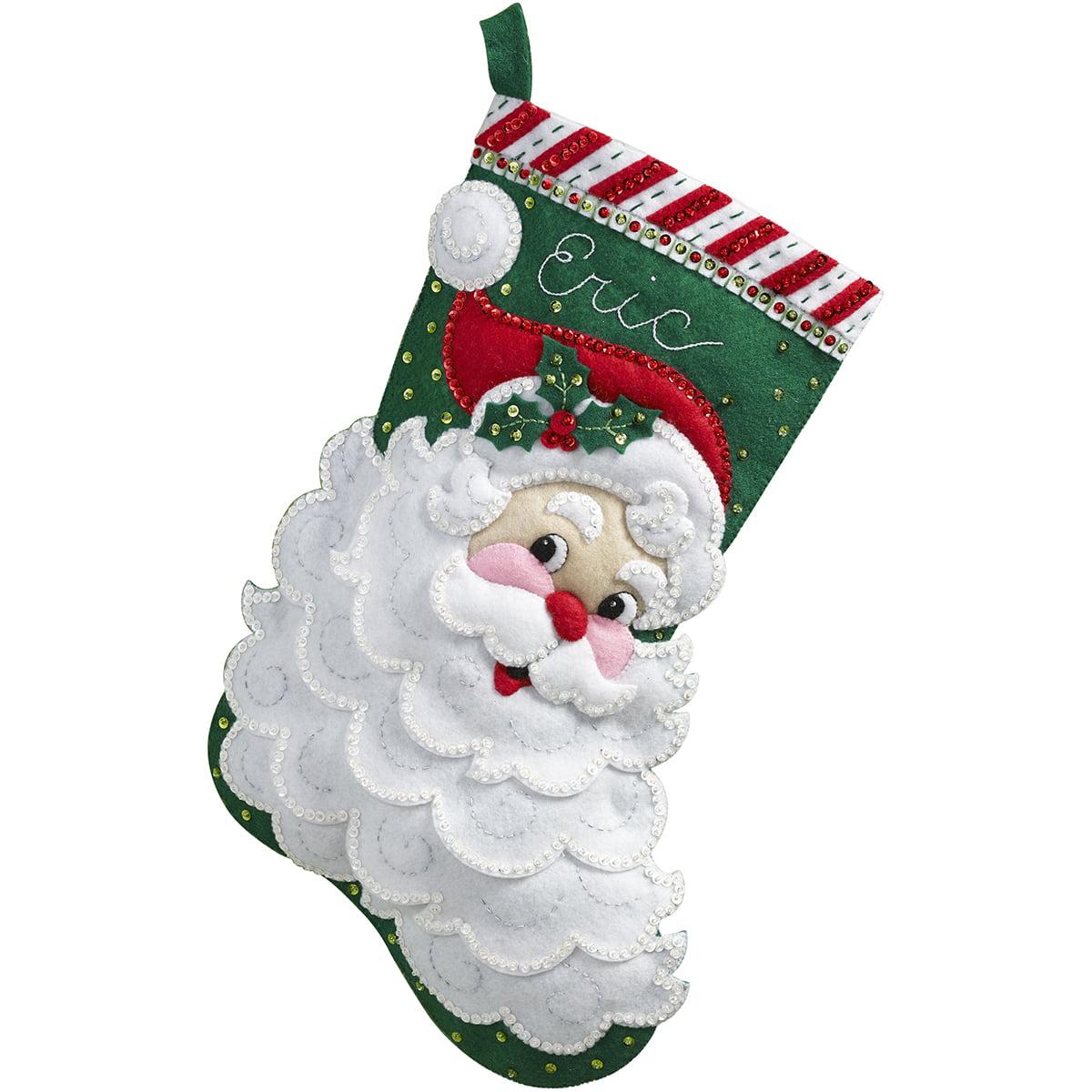 "Jolly Saint Nick Stocking Felt Applique Kit, 18"" Long"
