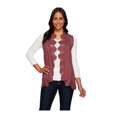 Liz Claiborne New York Knit Vest with Hand Crochet Trim (Dusty Plum,X-Large)