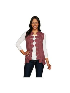 Product Image Liz Claiborne New York Knit Vest with Hand Crochet Trim  (Dusty Plum b03a82d07ee2