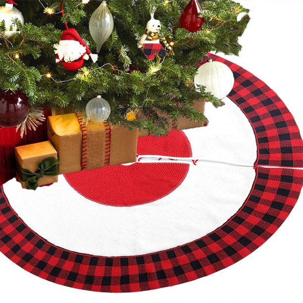 Christmas Tree Skirt 48 Inches Buffalo Plaid Trim Knitted Xmas Tree Mats For Home Party Decoration Walmart Com Walmart Com