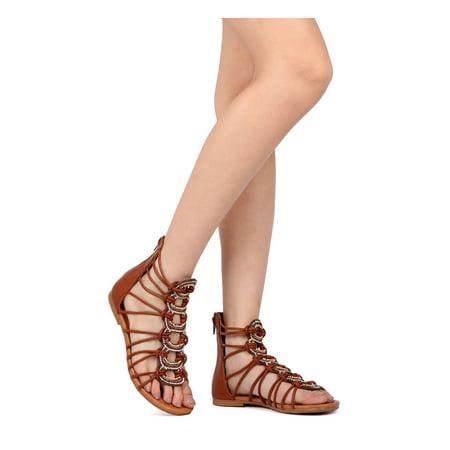 Vigo Fiore - Women Leatherette Rhinestone Gladiator Sandal ... 400d0943c7f9