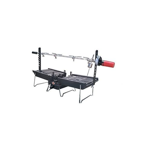 Kovot 26'' Mr Flame Son of Hibachi Vintage Cast Iron Portable Charcoal Grill with Rotisserie Spit Combo by Mr. Flame
