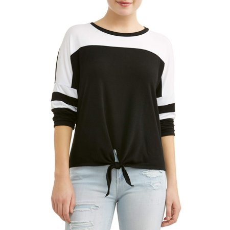 Juniors' Colorblock Tie Front Varsity Stripe Long Sleeve T-Shirt