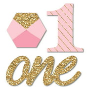1st Birthday Girl - Fun to be One - Shaped DIY First Birthday Party Small Cut-Outs - 24 Count