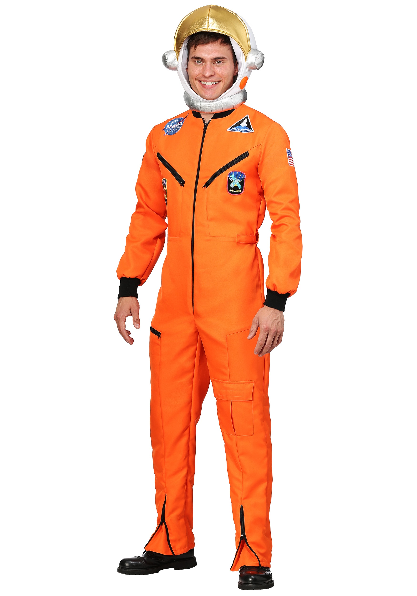 Adult Men/'s Orange NASA Astronaut Space Suit Costume