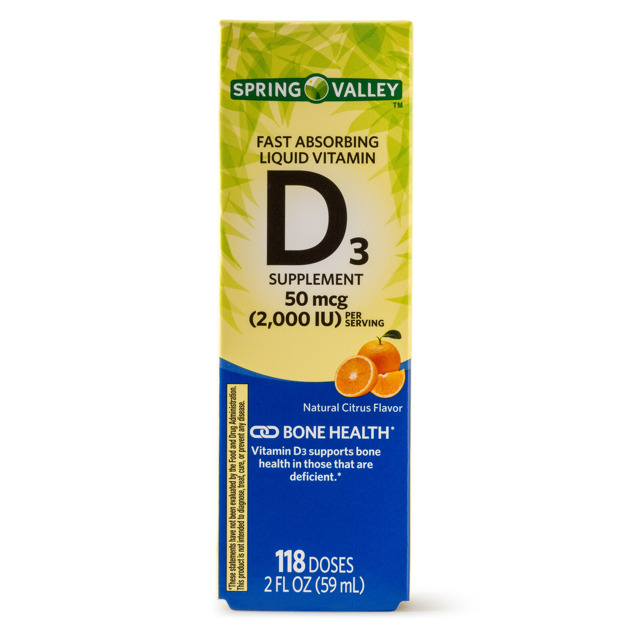 Spring Valley Liquid Vitamin D3, Citrus Flavor, 2000 IU per Serving, 118 Doses, 2 Oz