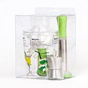 Happy Hour 4-Piece Cocktail Set with Shaker, Muddler, Jigger and Citrus Juicer