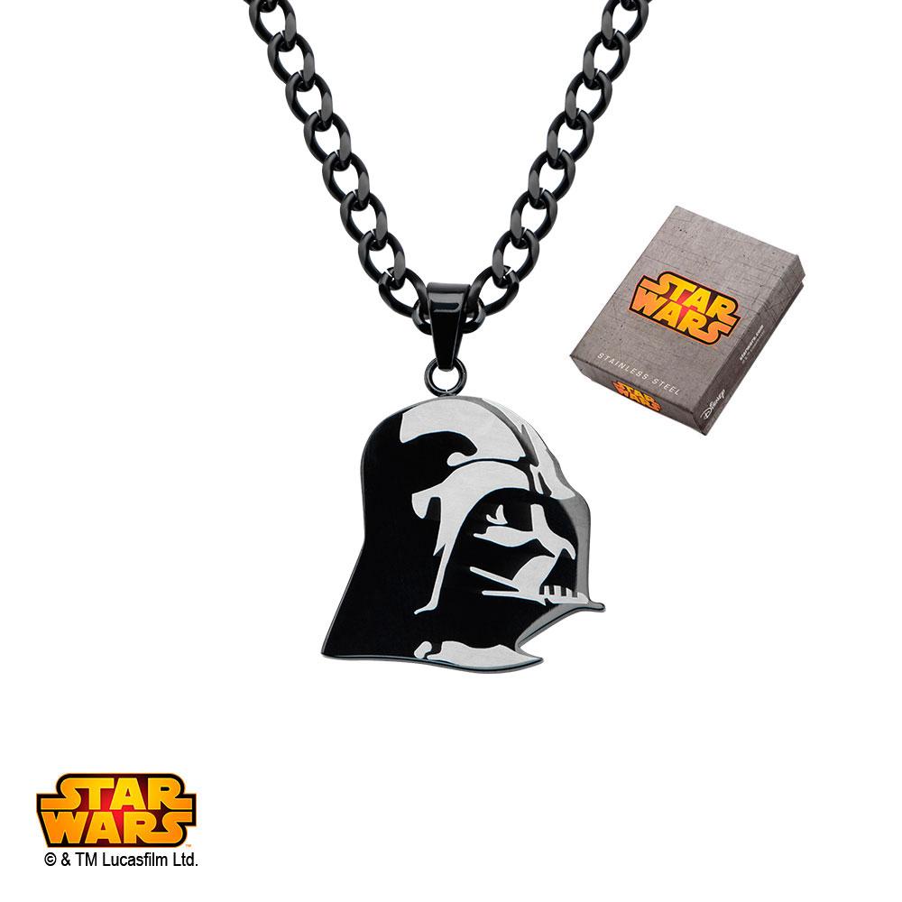"Disney Stainless Steel Star Wars Etched Darth Vader Pendant, 24"""