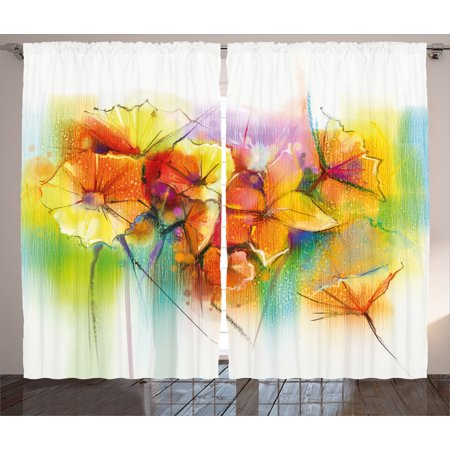 Watercolor Flower Home Decor Curtains 2 Panels Set, Vibrant Autumn Bouquet withTypes of Blooms Daffodil Fragrant Image, Window Drapes for Living Room Bedroom, 108W X 90L Inches, Multi, by Ambesonne