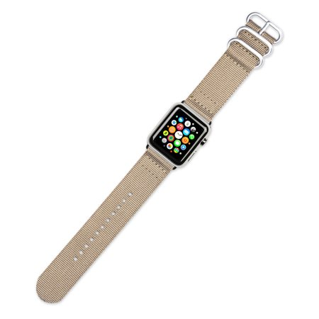Apple Watch Band - 2-Piece Military Nylon - Tan - Fits 38mm Series 1 & 2 Apple Watch [Black Adapters]