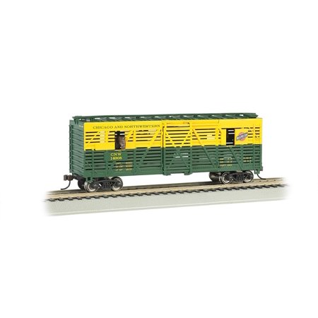 Bachmann 40' Animated Stock Car - CHICAGO and NORTHWESTERN with HORSES - HO Scale, Bring your consist to life with this Animated Stock Car By Bachmann Trains