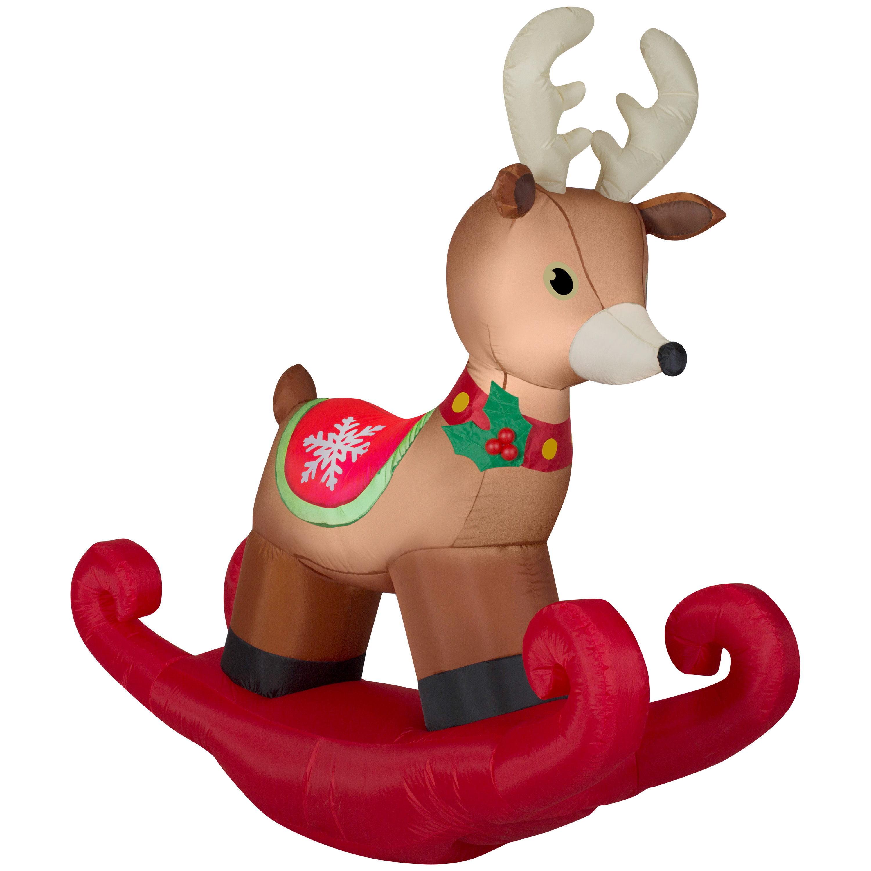 Airblown Inflatable-Reindeer on Rocker 6ft tall by Gemmy Industries