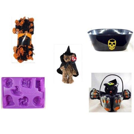 Halloween Fun Gift Bundle [5 Piece] -  Black & Orange Pumpkin Garland 10 ft. - Black With Skeleton Oval Party Tub - Ty Attic Treasures