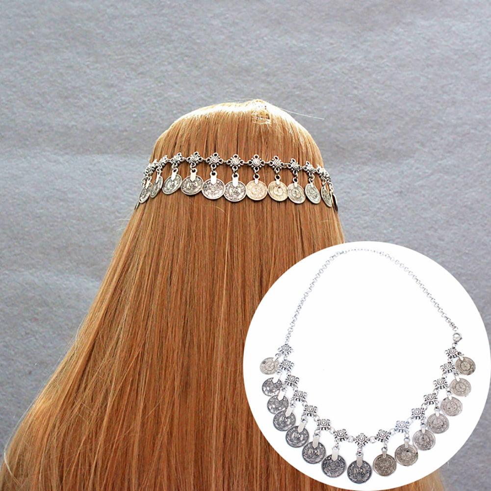 HiCoup Boho Women Head Chain Antique Coin Pendant Headband Headpiece Hair Band Jewelry