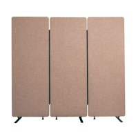 Offex Wall Partition Privacy Screen Freestanding Acoustic Room Divider for Office, Classroom, Libraries - 3 Pack, Desert Sand