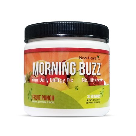 New Health Morning Buzz Fruit Punch Energy Drink Mix 8oz - 30 Servings - Your Daily Energy Fix - No Jitters - Mood -