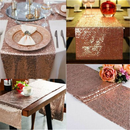 Gobestart Glitter Rose Gold Sequin Table Runner Cloth Sparkly Wedding Party Decor 30x275CM