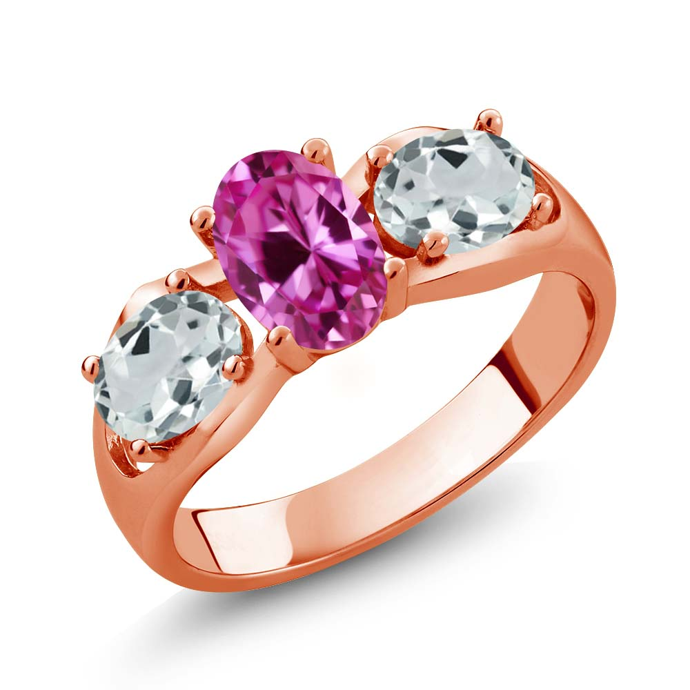 1.76 Ct Oval Pink Created Sapphire Sky Blue Aquamarine 18K Rose Gold Ring by