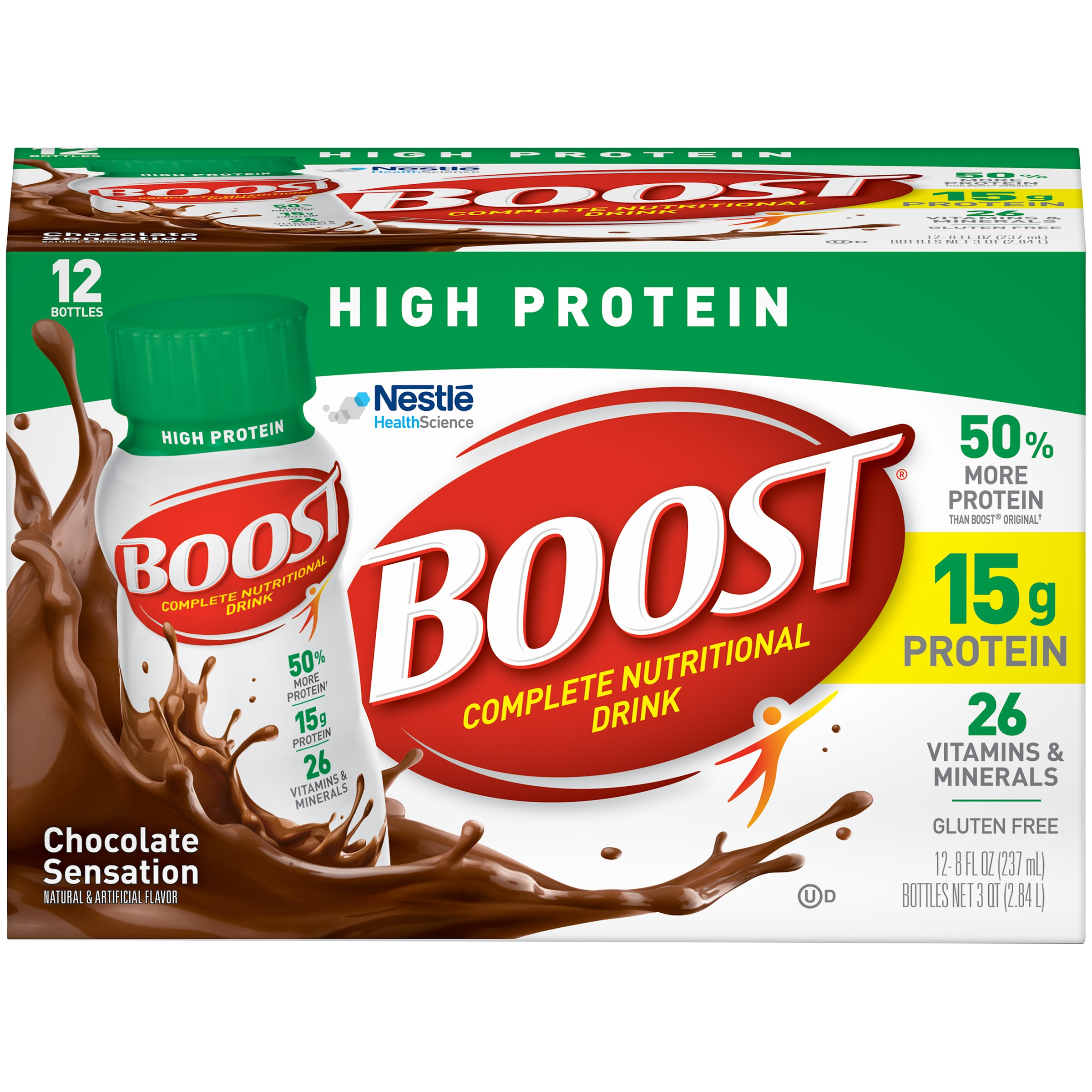 Boost, High Protein, Complete Nutritional Drink, Chocolate Sensation, 8 Fl oz Bottle, 12 Ct