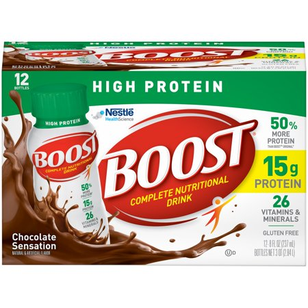 Boost High Protein Complete Nutritional Drink  Chocolate Sensation  8 Fl Oz Bottle  12 Pack