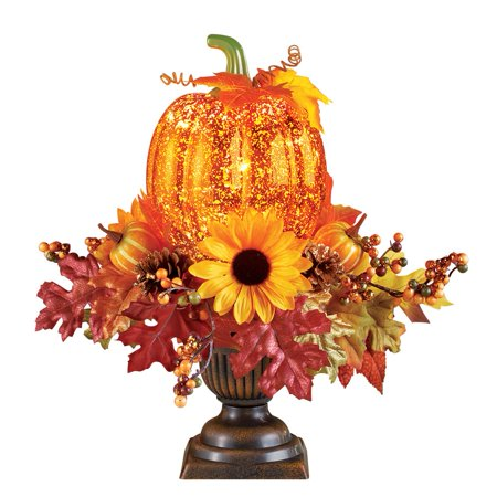 Lighted Pumpkin Harvest Floral Arrangement ()