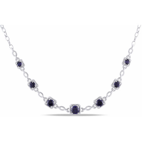 "8-4 5 Carat T.G.W. Created Blue Sapphire and Diamond-Accent Sterling Silver Fashion Necklace, 17"" by Generic"