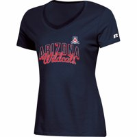 Women's Russell Athletic Navy Arizona Wildcats Arch V-Neck T-Shirt