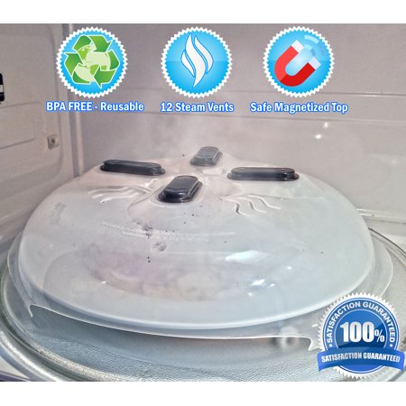 5 Star Super Deals Microwave Hovering Anti Splattering Magnetic Food Lid Cover Guard - Microwave Splatter Lid with Steam Vents & Microwave Safe Magnets - Dishwasher Safe & Sticks To The Top Of Your Microwave (Oven Safe Mason Jars)