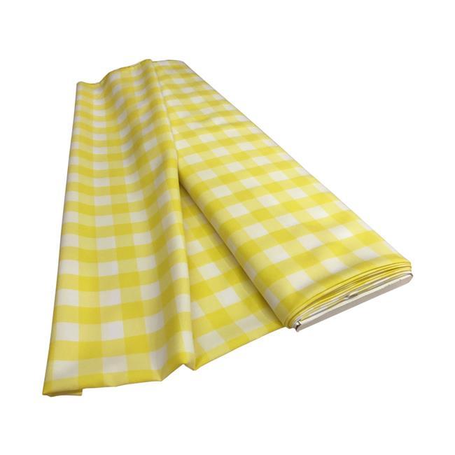 LA Linen CheckBolt-10Yrd-LghtYellowK99 10 Yards Gingham Checkered Flat Fold, White & Light Yellow