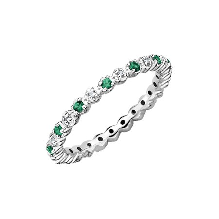 Lab Created Green Emerald Eternity Band Ring 1/5 Carat (ctw) in Sterling Silver (Lab Created Green)